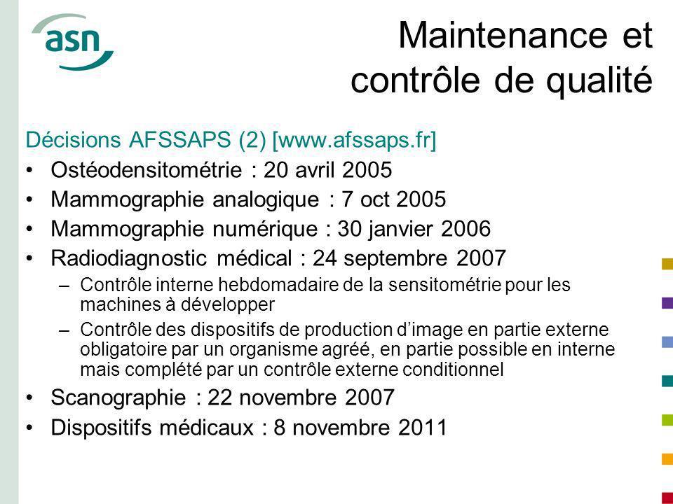 Maintenance et contrôle de qualité Décisions AFSSAPS (2) [www.afssaps.fr] Ostéodensitométrie : 20 avril 2005 Mammographie analogique : 7 oct 2005 Mamm