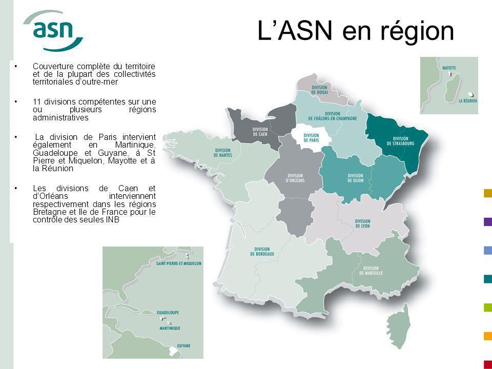 LASN en région Couverture complète du territoire et de la plupart des collectivités territoriales doutre-mer 11 divisions compétentes sur une ou plusi