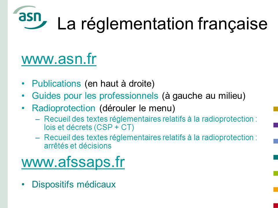 La réglementation française www.asn.fr Publications (en haut à droite) Guides pour les professionnels (à gauche au milieu) Radioprotection (dérouler l