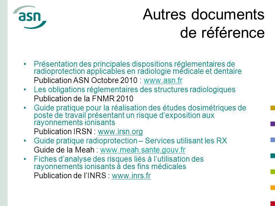 Autres documents de référence Présentation des principales dispositions réglementaires de radioprotection applicables en radiologie médicale et dentai