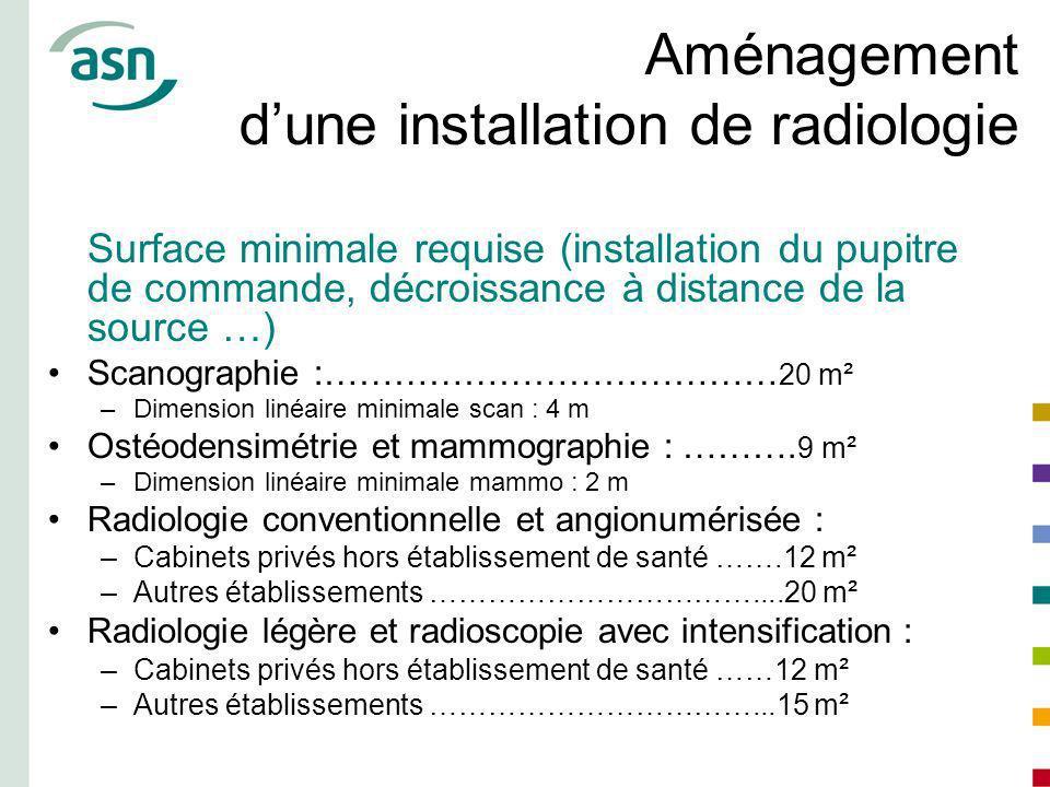 Aménagement dune installation de radiologie Surface minimale requise (installation du pupitre de commande, décroissance à distance de la source …) Sca
