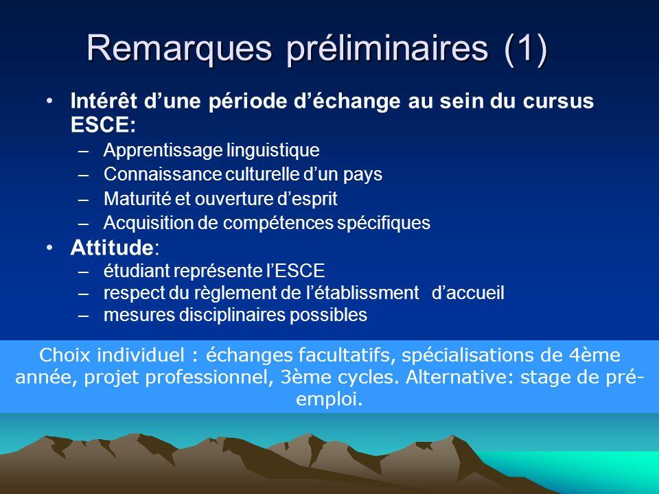 Remarques préliminaires (1) Intérêt dune période déchange au sein du cursus ESCE: – Apprentissage linguistique – Connaissance culturelle dun pays – Ma