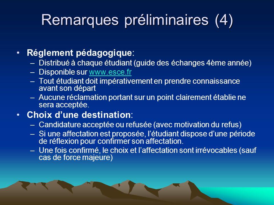 Remarques préliminaires (4) Réglement pédagogique: –Distribué à chaque étudiant (guide des échanges 4ème année) –Disponible sur www.esce.frwww.esce.fr