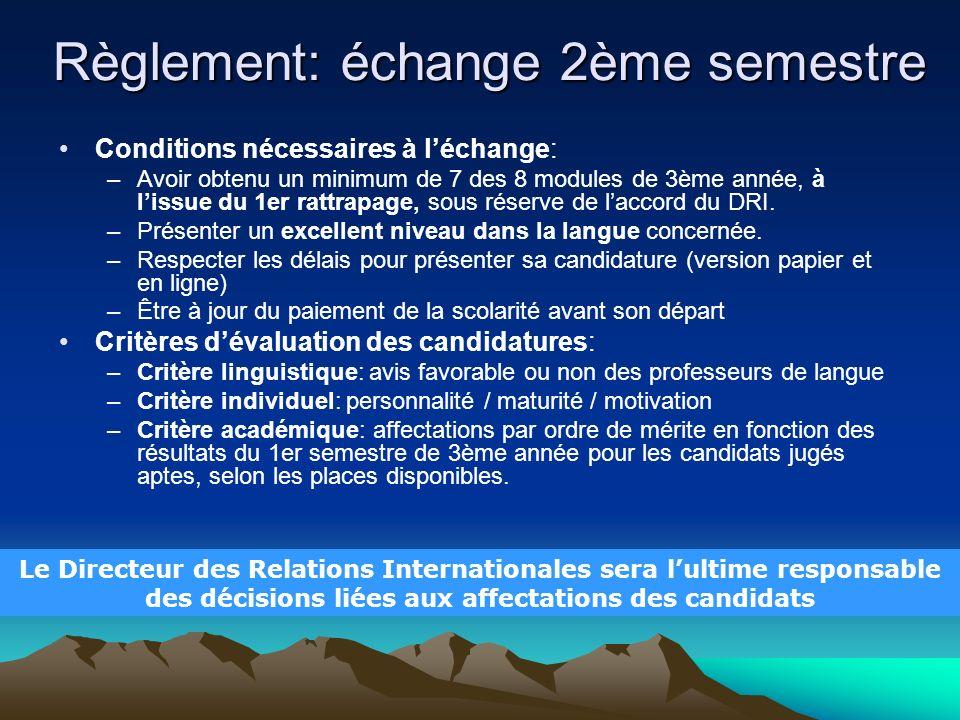 Règlement: échange 2ème semestre Conditions nécessaires à léchange: –Avoir obtenu un minimum de 7 des 8 modules de 3ème année, à lissue du 1er rattrap
