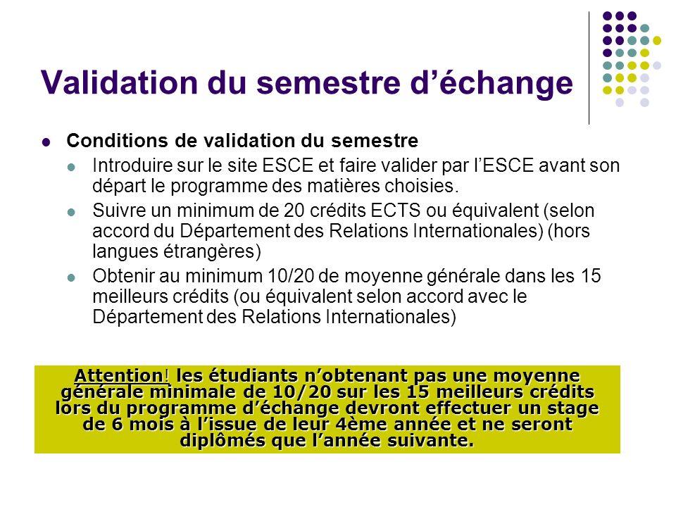 Validation du semestre déchange Conditions de validation du semestre Introduire sur le site ESCE et faire valider par lESCE avant son départ le programme des matières choisies.