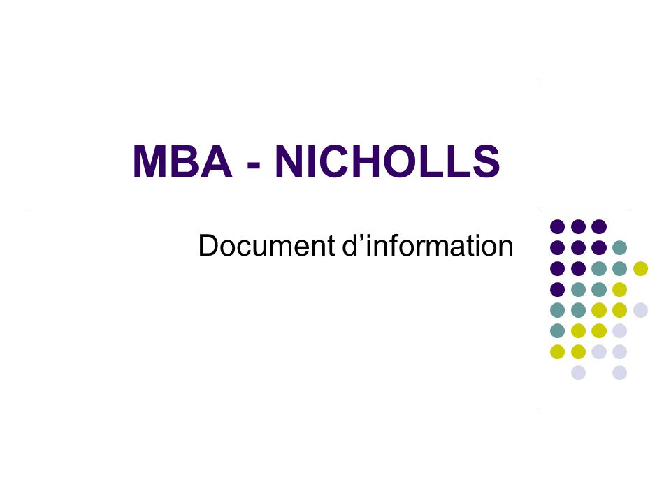 MBA - NICHOLLS Document dinformation