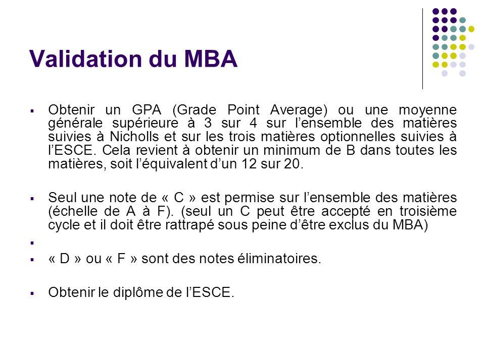 Validation du MBA Obtenir un GPA (Grade Point Average) ou une moyenne générale supérieure à 3 sur 4 sur lensemble des matières suivies à Nicholls et sur les trois matières optionnelles suivies à lESCE.