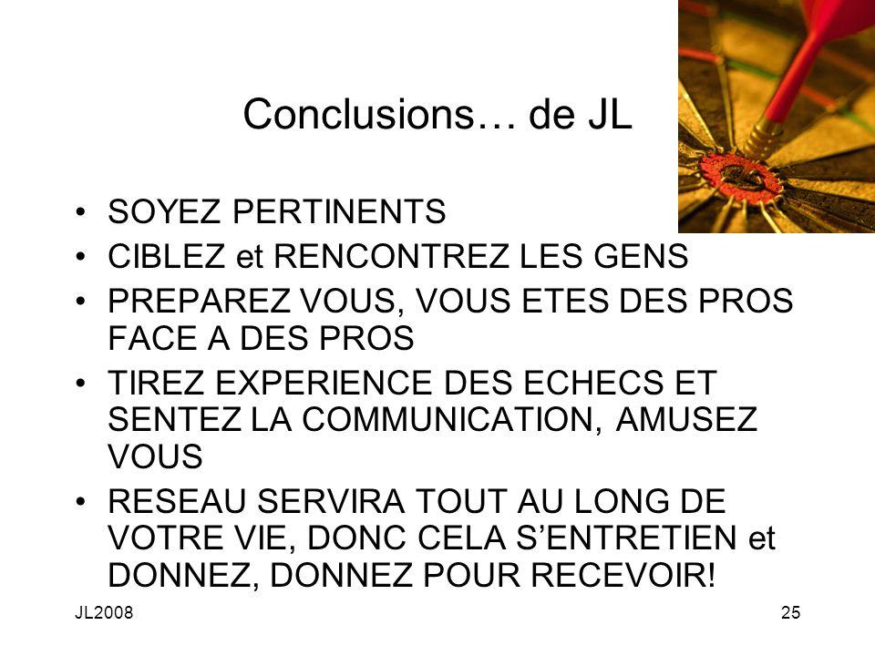 JL200825 Conclusions… de JL SOYEZ PERTINENTS CIBLEZ et RENCONTREZ LES GENS PREPAREZ VOUS, VOUS ETES DES PROS FACE A DES PROS TIREZ EXPERIENCE DES ECHECS ET SENTEZ LA COMMUNICATION, AMUSEZ VOUS RESEAU SERVIRA TOUT AU LONG DE VOTRE VIE, DONC CELA SENTRETIEN et DONNEZ, DONNEZ POUR RECEVOIR!