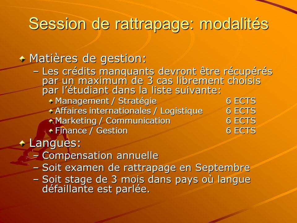 Session de rattrapage: modalités Matières de gestion: –Les crédits manquants devront être récupérés par un maximum de 3 cas librement choisis par létu