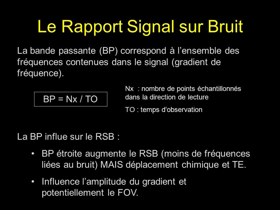 Le Rapport Signal sur Bruit La bande passante (BP) correspond à lensemble des fréquences contenues dans le signal (gradient de fréquence). BP = Nx / T
