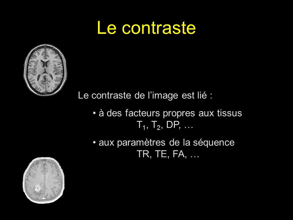 Le contraste de limage est lié : à des facteurs propres aux tissus T 1, T 2, DP, … aux paramètres de la séquence TR, TE, FA, …