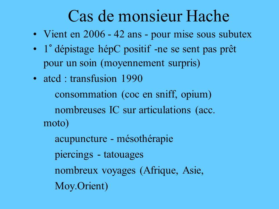 Cas de monsieur Hache Vient en 2006 - 42 ans - pour mise sous subutex 1° dépistage hépC positif -ne se sent pas prêt pour un soin (moyennement surpris) atcd : transfusion 1990 consommation (coc en sniff, opium) nombreuses IC sur articulations (acc.