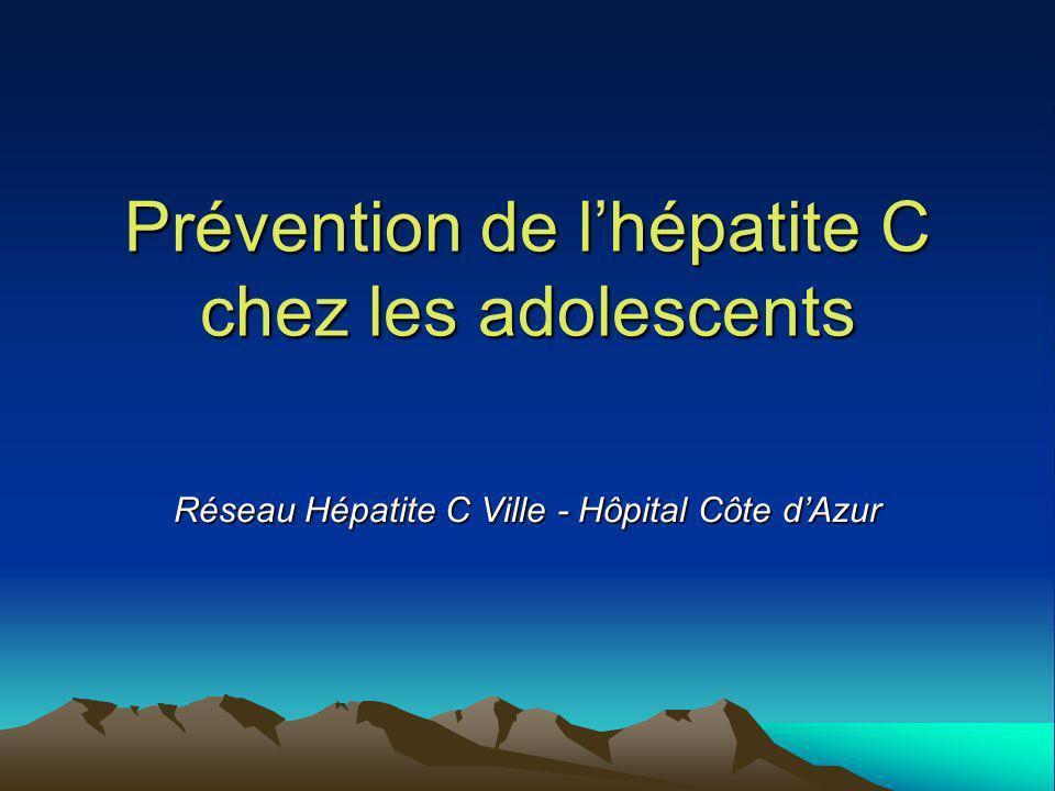 Prévention de lhépatite C chez les adolescents Réseau Hépatite C Ville - Hôpital Côte dAzur