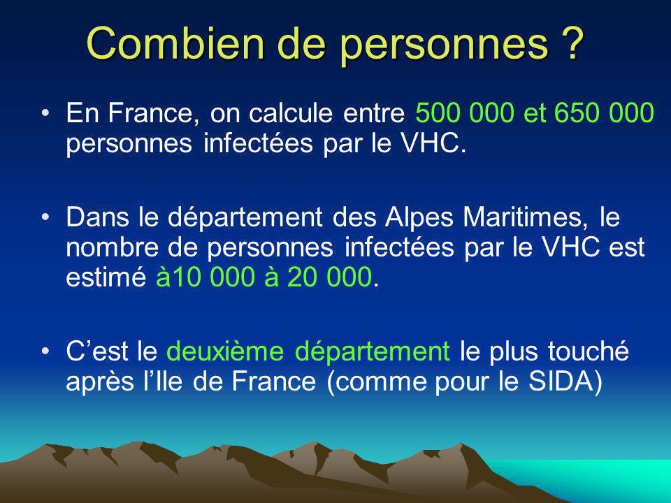 Combien de personnes ? En France, on calcule entre 500 000 et 650 000 personnes infectées par le VHC. Dans le département des Alpes Maritimes, le nomb