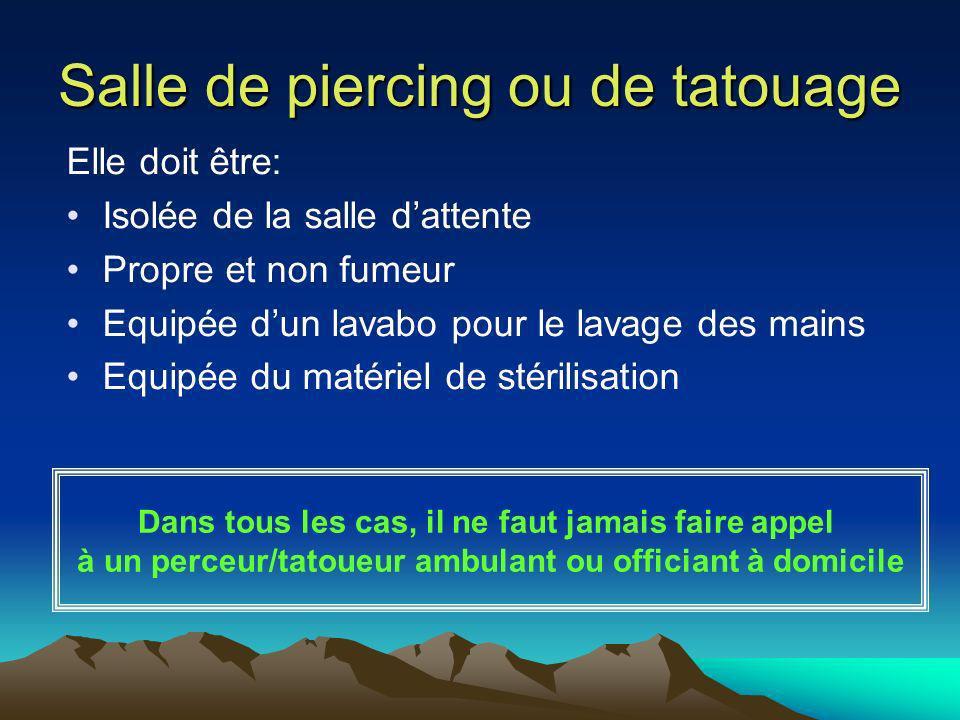 Salle de piercing ou de tatouage Elle doit être: Isolée de la salle dattente Propre et non fumeur Equipée dun lavabo pour le lavage des mains Equipée