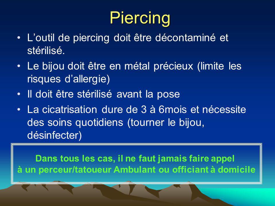 Piercing Piercing Loutil de piercing doit être décontaminé et stérilisé. Le bijou doit être en métal précieux (limite les risques dallergie) Il doit ê