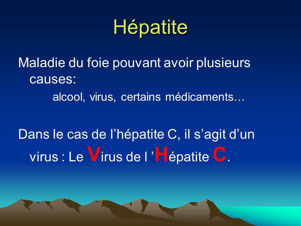 Hépatite Maladie du foie pouvant avoir plusieurs causes: alcool, virus, certains médicaments… Dans le cas de lhépatite C, il sagit dun virus : Le V ir