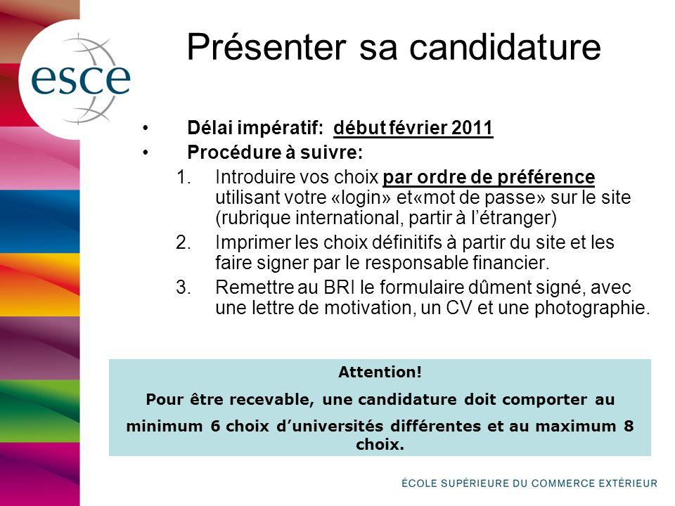 Présenter sa candidature Délai impératif: début février 2011 Procédure à suivre: 1.Introduire vos choix par ordre de préférence utilisant votre «login