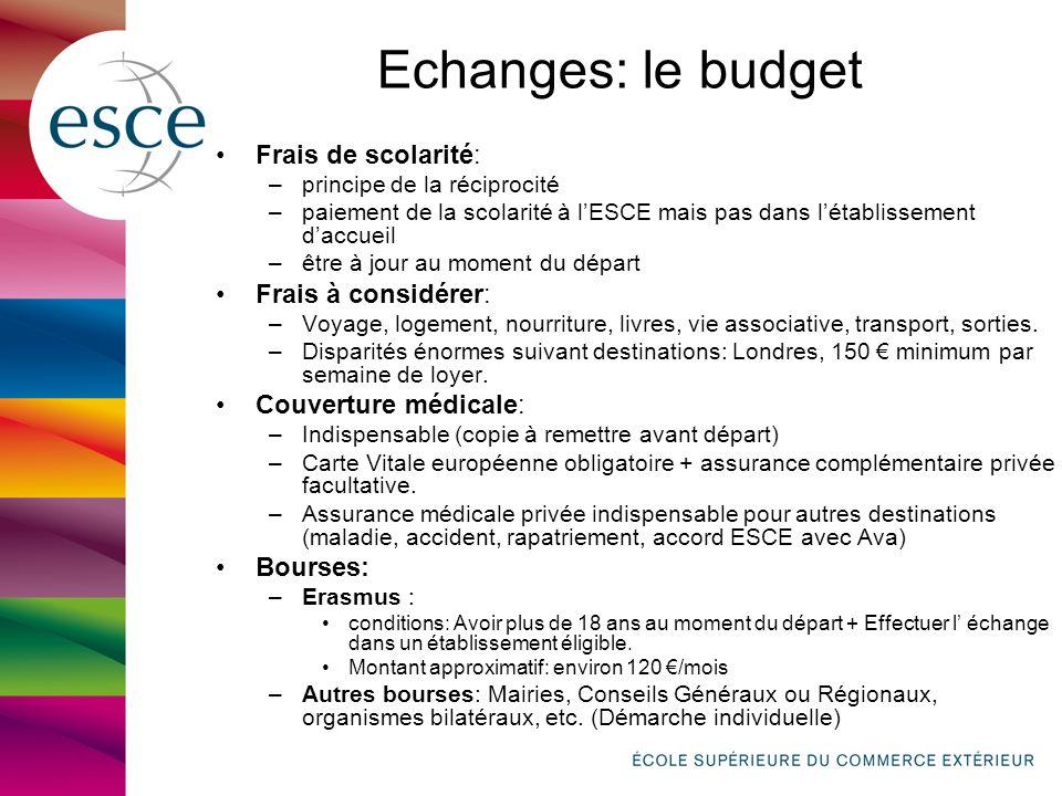 Echanges: le budget Frais de scolarité: –principe de la réciprocité –paiement de la scolarité à lESCE mais pas dans létablissement daccueil –être à jo