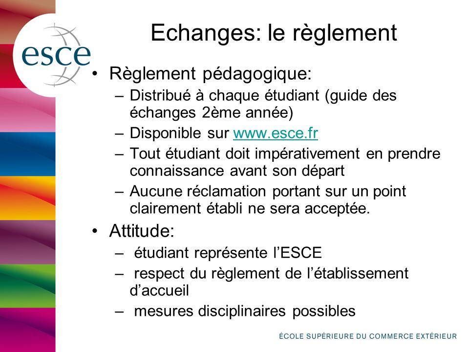 Echanges: le règlement Règlement pédagogique: –Distribué à chaque étudiant (guide des échanges 2ème année) –Disponible sur www.esce.frwww.esce.fr –Tou