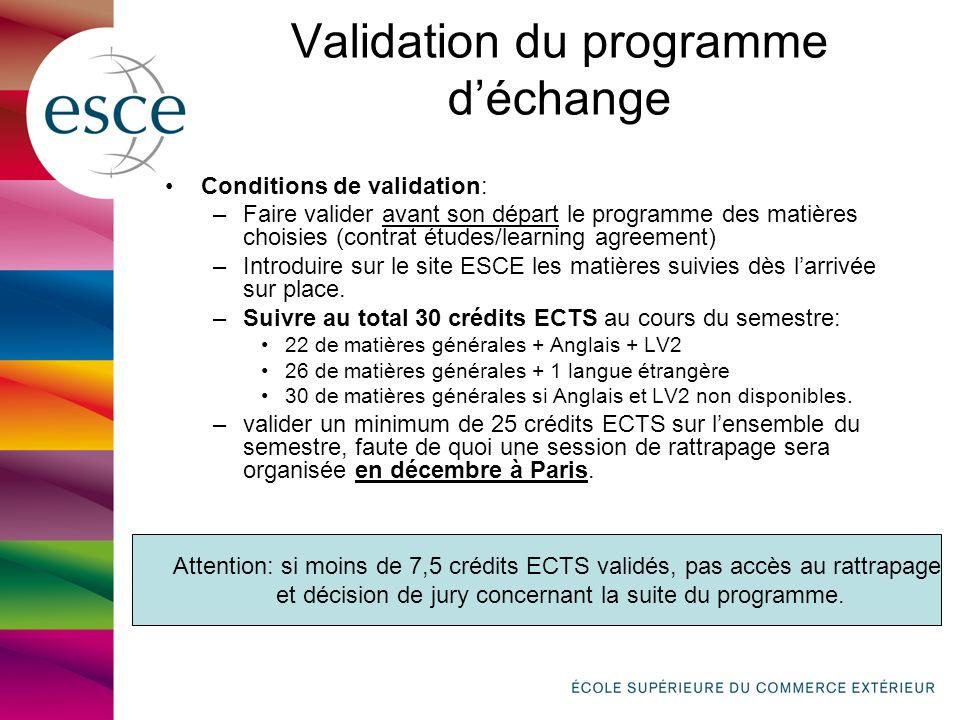 Validation du programme déchange Conditions de validation: –Faire valider avant son départ le programme des matières choisies (contrat études/learning