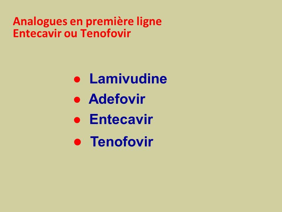 Analogues en première ligne Entecavir ou Tenofovir Lamivudine Adefovir Entecavir Tenofovir