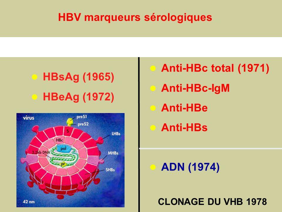 AntigènesAnticorps Anti-HBc total (1971) Anti-HBc-IgM Anti-HBe Anti-HBs ADN (1974) HBsAg (1965) HBeAg (1972) CapsideHBcAg(HBeAg) EnveloppeHBsAg HBV ma