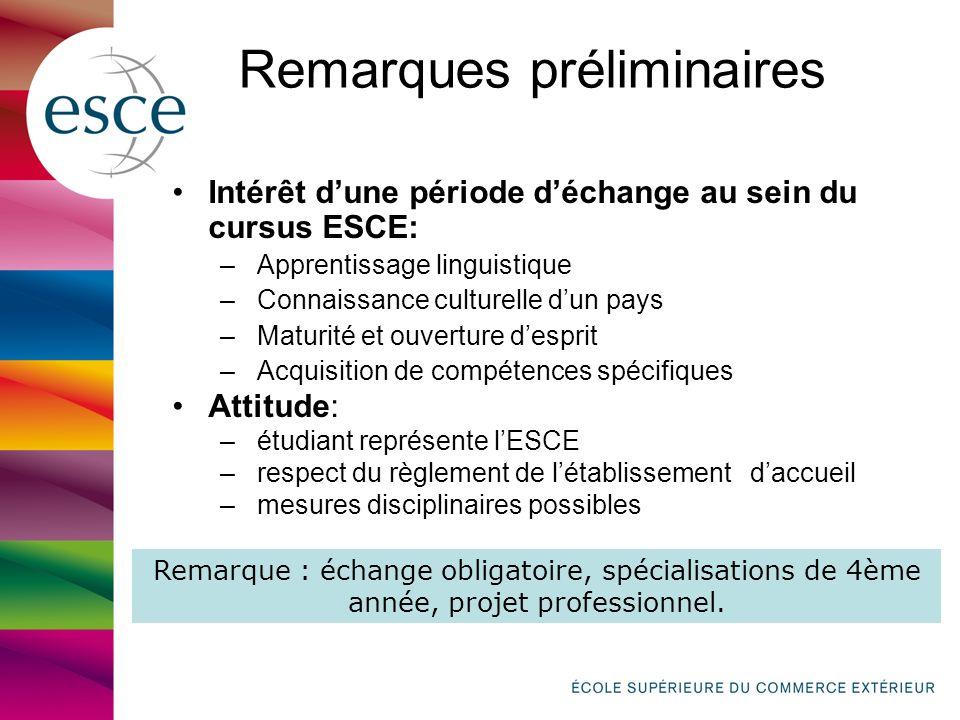 Remarques préliminaires Intérêt dune période déchange au sein du cursus ESCE: – Apprentissage linguistique – Connaissance culturelle dun pays – Maturi