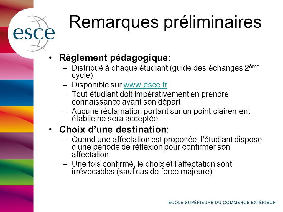 Remarques préliminaires Règlement pédagogique: –Distribué à chaque étudiant (guide des échanges 2 ème cycle) –Disponible sur www.esce.frwww.esce.fr –T