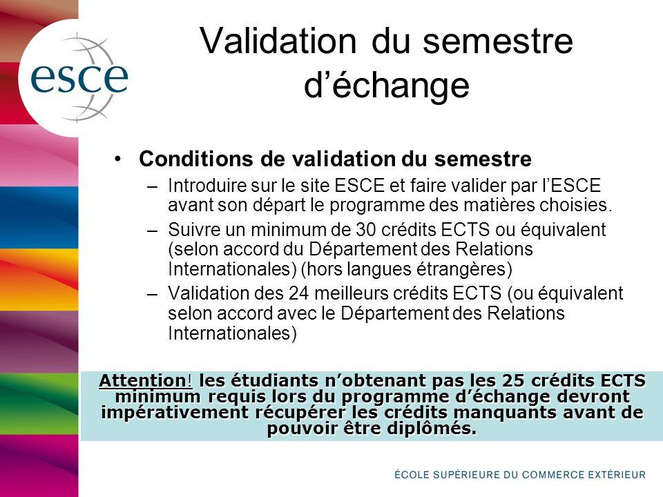 Validation du semestre déchange Conditions de validation du semestre –Introduire sur le site ESCE et faire valider par lESCE avant son départ le programme des matières choisies.