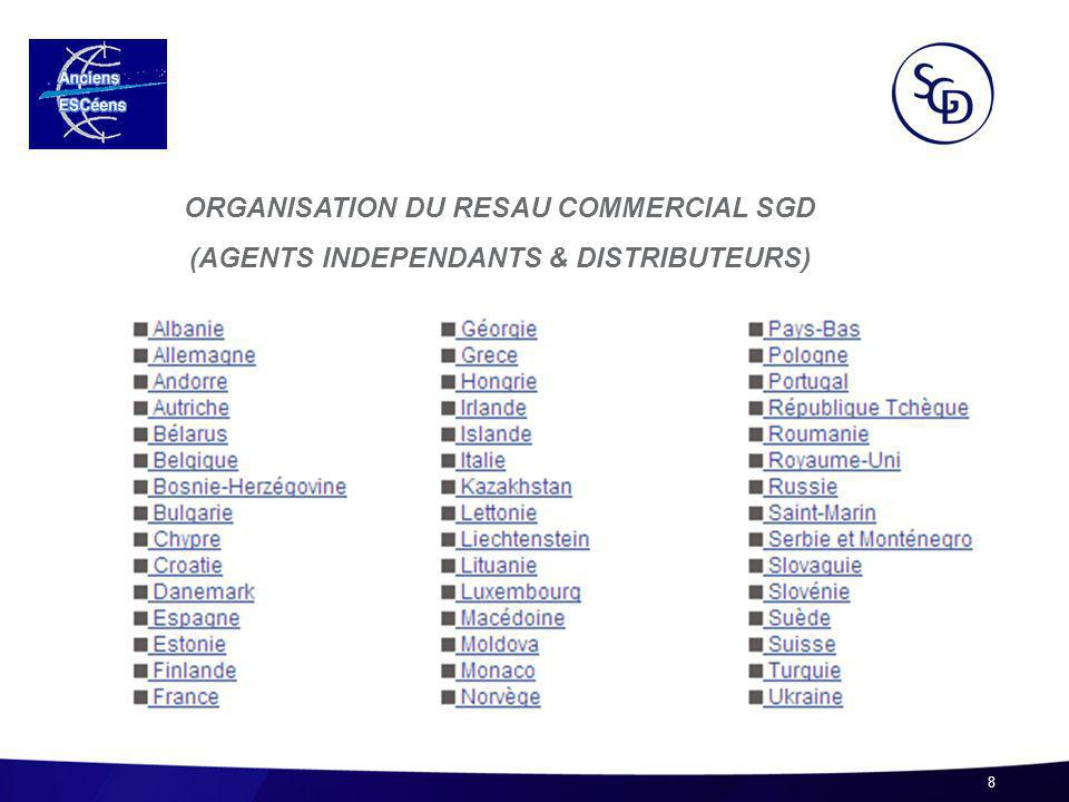 8 ORGANISATION DU RESAU COMMERCIAL SGD (AGENTS INDEPENDANTS & DISTRIBUTEURS)