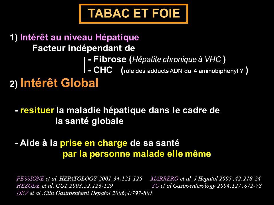 TABAC ET FOIE 1) Intérêt au niveau Hépatique Facteur indépendant de - Fibrose ( Hépatite chronique à VHC ) - CHC ( rôle des adducts ADN du 4 aminobiph