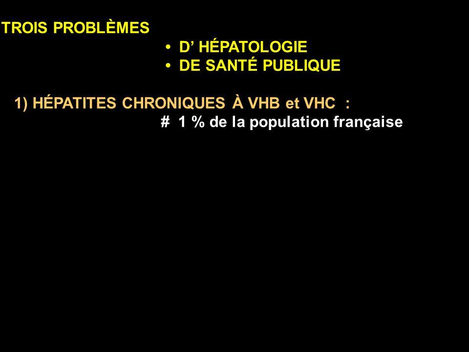 TROIS PROBLÈMES D HÉPATOLOGIE DE SANTÉ PUBLIQUE 1) HÉPATITES CHRONIQUES À VHB et VHC : # 1 % de la population française