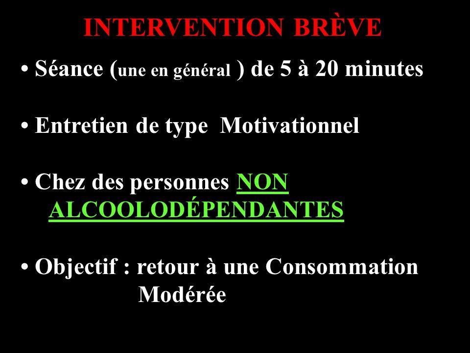INTERVENTION BRÈVE Séance ( une en général ) de 5 à 20 minutes Entretien de type Motivationnel Chez des personnes NON ALCOOLODÉPENDANTES Objectif : re