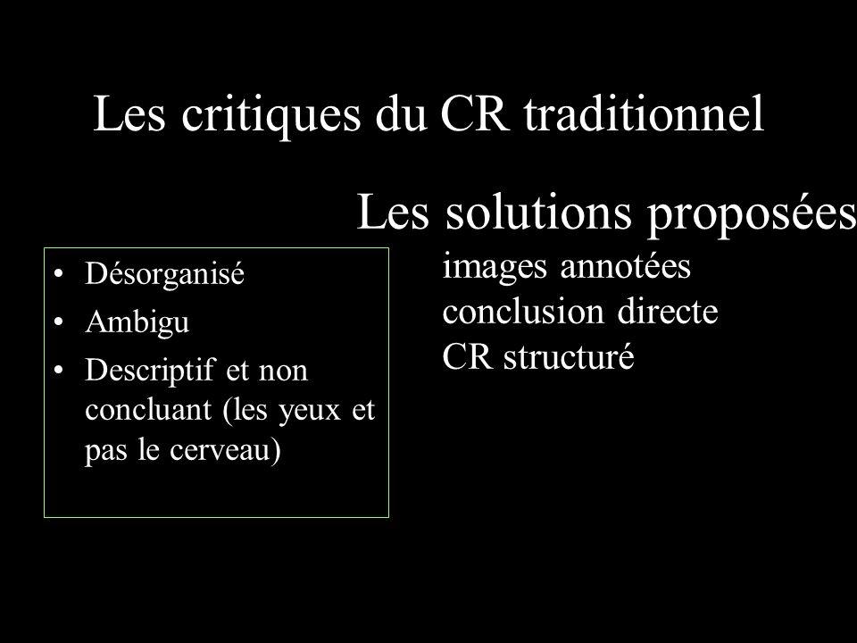 Les critiques du CR traditionnel Désorganisé Ambigu Descriptif et non concluant (les yeux et pas le cerveau) Les solutions proposées images annotées c