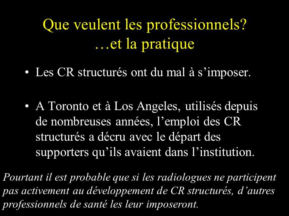 Les CR structurés ont du mal à simposer. A Toronto et à Los Angeles, utilisés depuis de nombreuses années, lemploi des CR structurés a décru avec le d