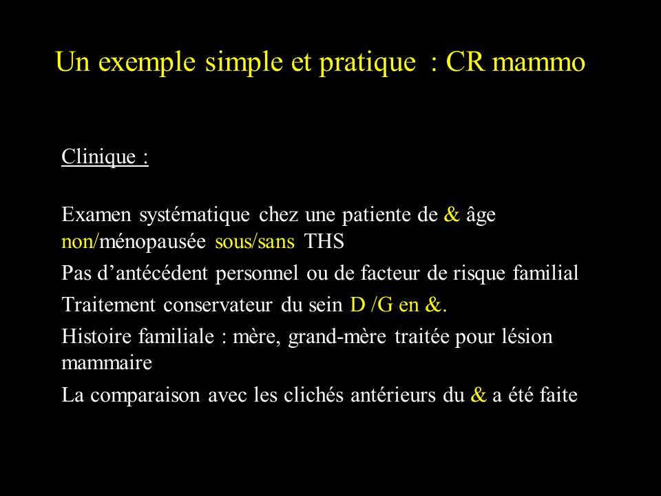 Un exemple simple et pratique : CR mammo Clinique : Examen systématique chez une patiente de & âge non/ménopausée sous/sans THS Pas dantécédent person