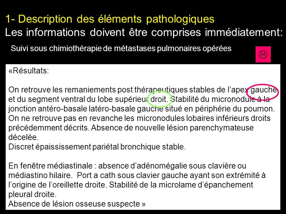 1- Description des éléments pathologiques Les informations doivent être comprises immédiatement: «Résultats: On retrouve les remaniements post thérape
