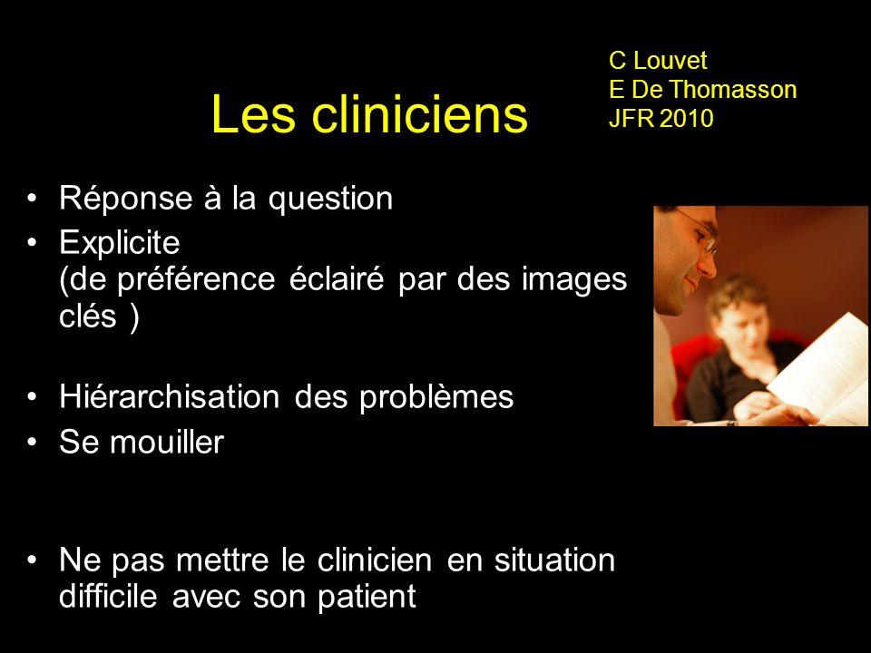 Les cliniciens Réponse à la question Explicite (de préférence éclairé par des images clés ) Hiérarchisation des problèmes Se mouiller Ne pas mettre le