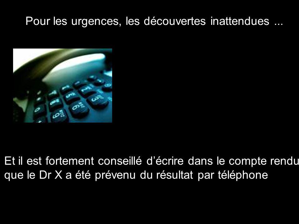 Pour les urgences, les découvertes inattendues... Et il est fortement conseillé décrire dans le compte rendu que le Dr X a été prévenu du résultat par