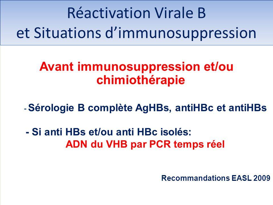 Réactivation Virale B et Situations dimmunosuppression Avant immunosuppression et/ou chimiothérapie - Sérologie B complète AgHBs, antiHBc et antiHBs -