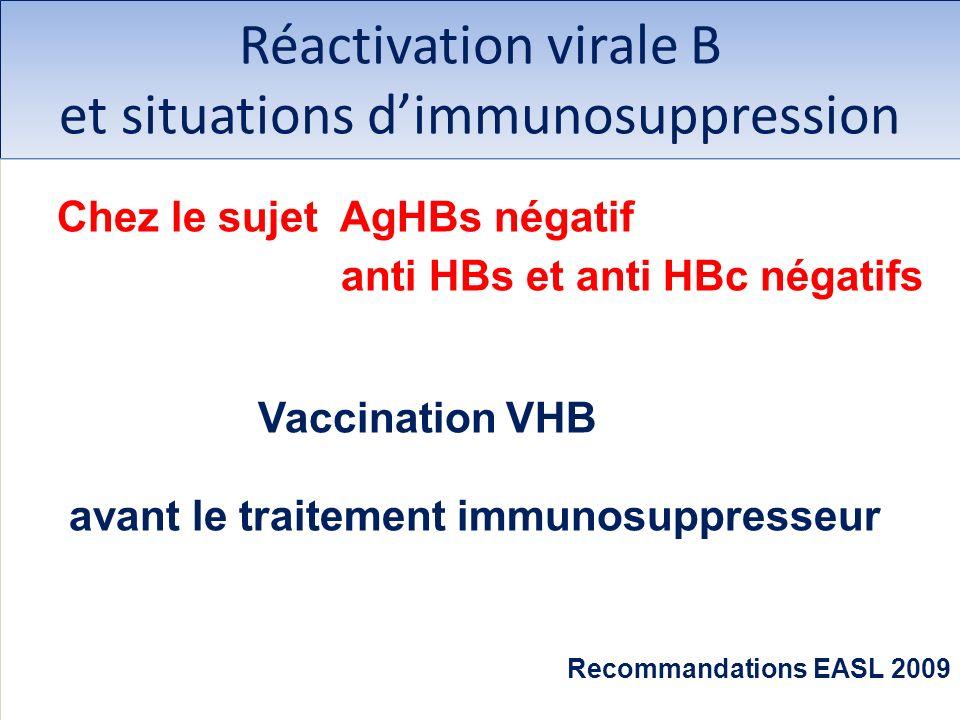 Réactivation virale B et situations dimmunosuppression Chez le sujet AgHBs négatif anti HBs et anti HBc négatifs Vaccination VHB avant le traitement i