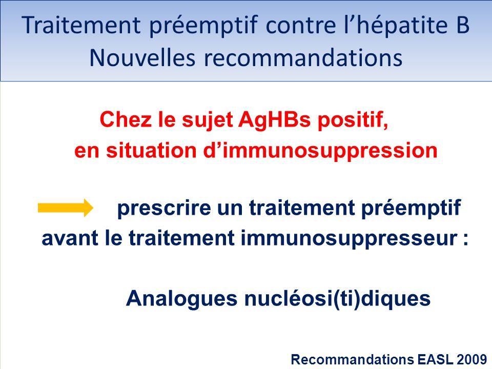 Traitement préemptif contre lhépatite B Nouvelles recommandations Chez le sujet AgHBs positif, en situation dimmunosuppression prescrire un traitement