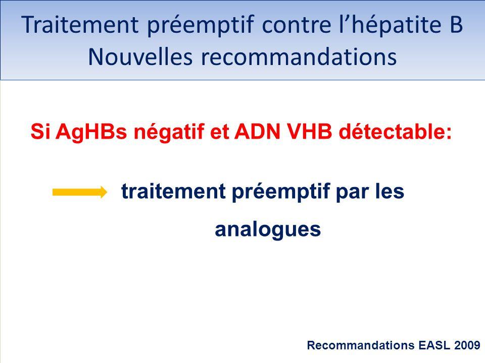 Traitement préemptif contre lhépatite B Nouvelles recommandations Si AgHBs négatif et ADN VHB détectable: traitement préemptif par les analogues Recom