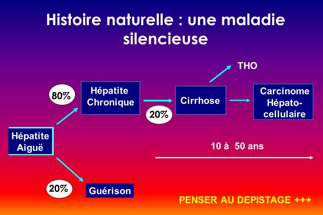Histoire naturelle : une maladie silencieuse Hépatite Aiguë Guérison Hépatite Chronique Cirrhose Carcinome Hépato- cellulaire 80% 20% 10 à 50 ans PENS