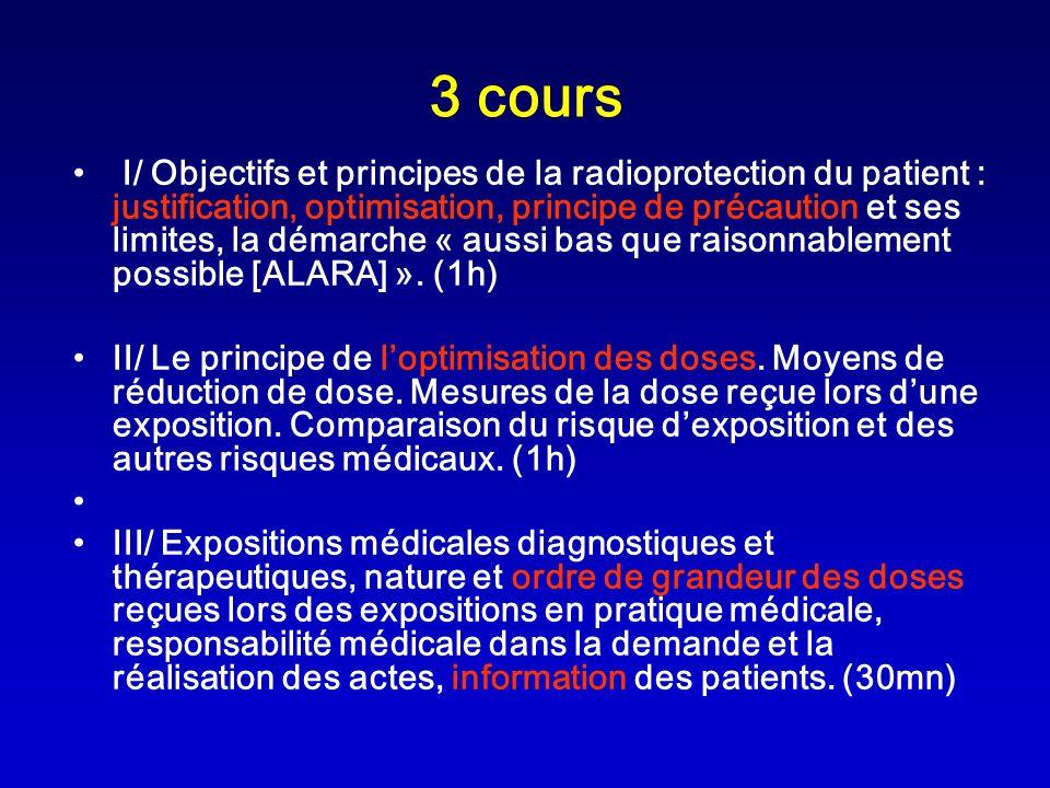 3 cours I/ Objectifs et principes de la radioprotection du patient : justification, optimisation, principe de précaution et ses limites, la démarche «