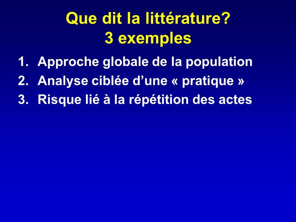 Que dit la littérature? 3 exemples 1.Approche globale de la population 2.Analyse ciblée dune « pratique » 3.Risque lié à la répétition des actes