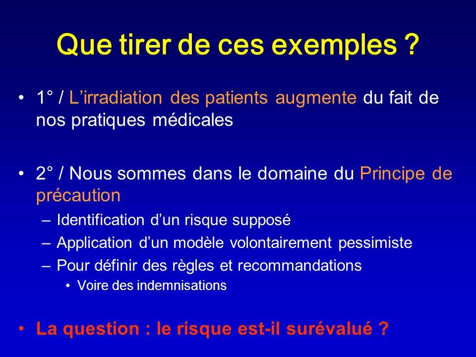 Que tirer de ces exemples ? 1° / Lirradiation des patients augmente du fait de nos pratiques médicales 2° / Nous sommes dans le domaine du Principe de