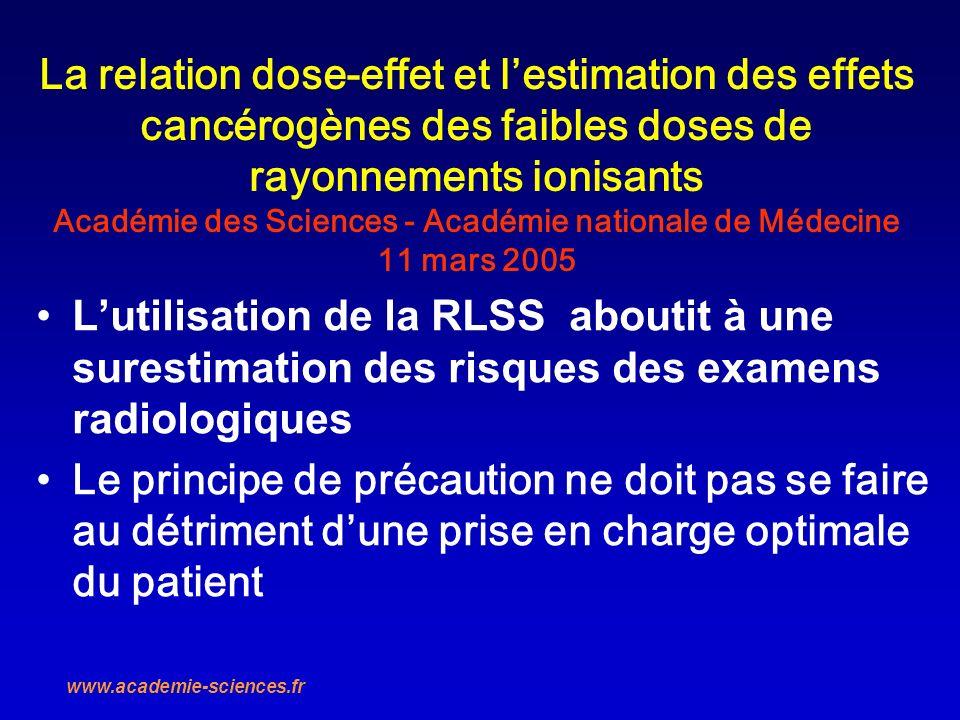La relation dose-effet et lestimation des effets cancérogènes des faibles doses de rayonnements ionisants Académie des Sciences - Académie nationale d