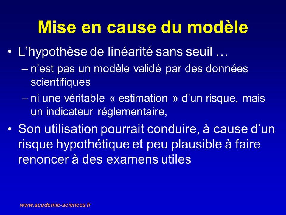 Mise en cause du modèle Lhypothèse de linéarité sans seuil … –nest pas un modèle validé par des données scientifiques –ni une véritable « estimation »